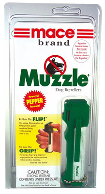 Dog Repellent, Canine Pepper Spray, Muzzle by Mace, w. keychain