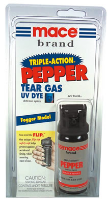 Mace Triple Action: OC pepper spray+tear gas+UV dye, Fogger